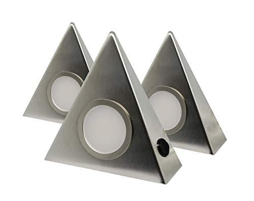 3er Set LED Edelstahl Dreieckleuchten Unterbau 3W HIGH LED WARMWEISS, mit Zentralschalter