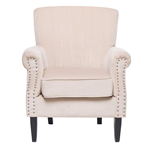 INMOZATA Wing Back Fireside Chair Comfy Velvet Armchair Load Maximum Weight 150kg, Occasional Single Sofa Lounge Chair for Living Room Bedroom Reception (Beige)