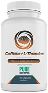 Pure Nootropics - Caffeine + L-theanine 300 mg Capsules   120 Veg Cap Value Pack   Focused Energy Fortified with Amino Aci...