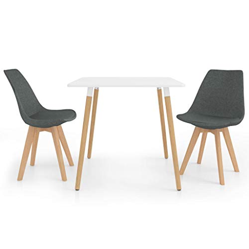 vidaXL Juego de Comedor 3 Piezas Muebles Mobiliario Exterior Hogar Cocina Terraza Silla Mesa Asiento Suave Decoración Moderno con Respaldo Gris Claro