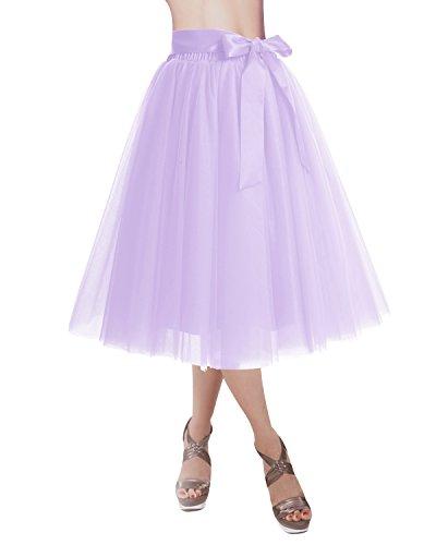 DRESSTELLS Knee Length Tulle Skirt Tutu Skirt Evening Party Gown Prom Formal Skirts Lavender M-L