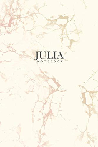 JULIA : Personal Marble JULIA Notebook / Journal: Diary Notebook / Lined Notebook / Journal Gift, 120 Pages, 6x9, Soft Cover, Matte Finish