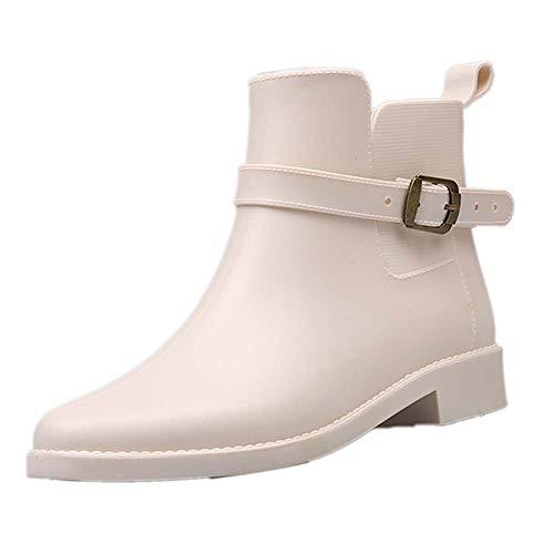 Botas de Lluvia Cortas para Mujer Y Zapatos de Jardín Impermeables con Estilo, Antideslizante, Impermeable, Botas de Lluvia de Goma, Zapatos de Trabajo para Exteriores,Blanco,37