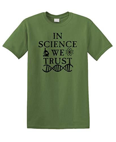 in Science WE Trust - Unisex Cotton Tee Shirt T-Shirt (Medium, Military)