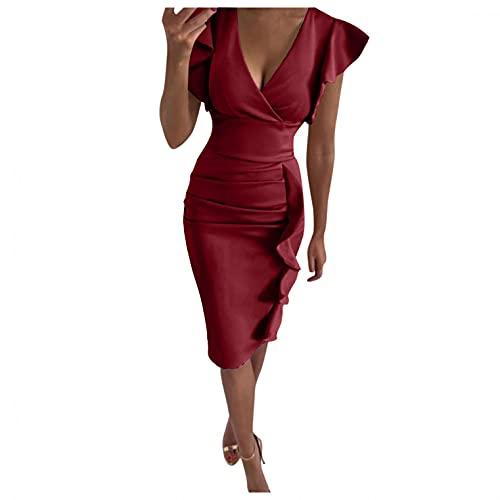GFGHH Elegante vestido de mujer con cuello en V, minivestido, para el tiempo libre, bodycon con volantes, vestido de cctel maxi vestido de noche para fiestas, bailes, Vino, L/chiquita