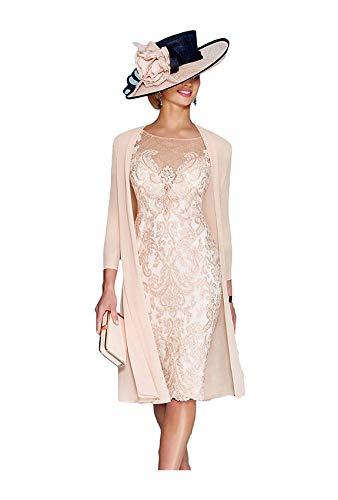 dressvip Merletto di Colore Rosa Mezze Maniche Seguito Prom Dress Knee Lunghezza Chiffon con Il Cappotto