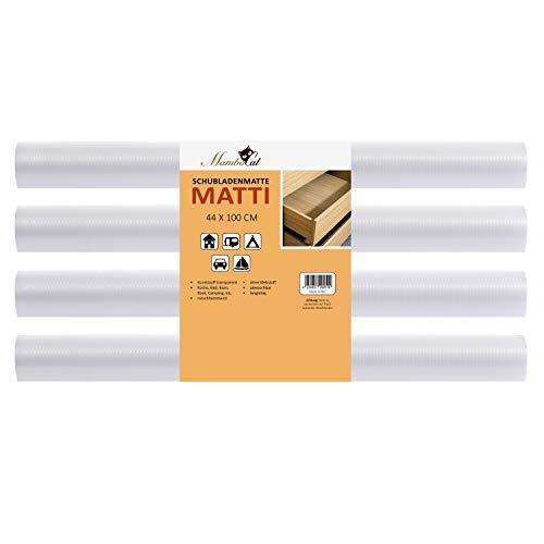 MamboCat Schubladenmatte Matti 4 teiliges Set   perfekt für 8 Schubladen   100 x 44 cm   transparente Antirutschmatte - individuell zuschneidbar I Schutzmatten-Rolle 4 Stück