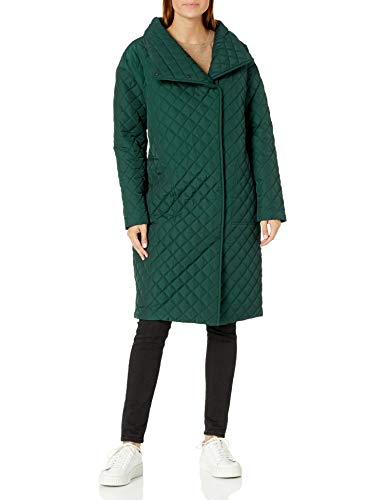 Daily Ritual Women's Quilted Oversized-Fit Long Coat, Moss Green, Large