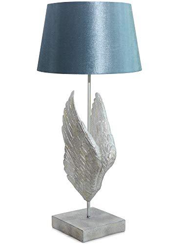 Werner Voss Tischlampe Engelsflügel Silber Blau im Vintage-Design für Wohnzimmer Büro und Schlafzimmer - Nachttischlampe Retro Dekoration