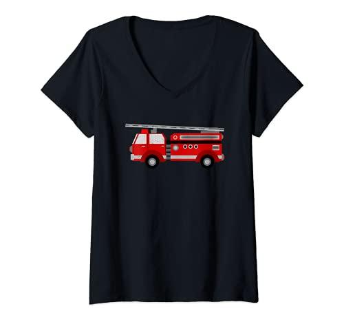 Mujer Camión de bomberos apenado bomberos hombre Camiseta Cuello V