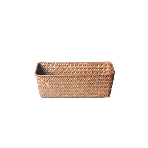 Xu Yuan Jia-Shop Laundry Basket Natural Seagrass Woven Basket Cosmetics Books Snacks And Other Debris Storage Basket Laundry Hamper (Color : Gray-A, Size : L)