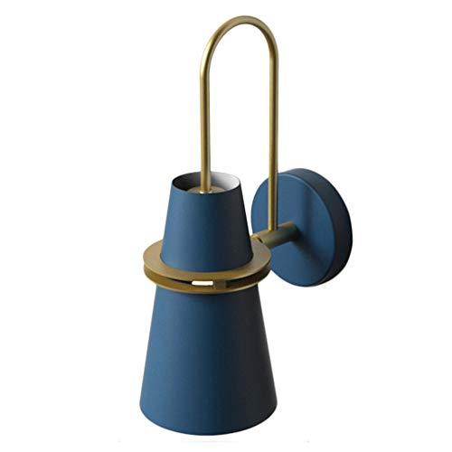 LFsem E27 Nordic Modern Aplique moderno Macaron Aplique de pared interior Industrial Loft Decoración Lámpara de pared de cuerno de hierro, Pasillo Dormitorio Sala de estar Comedor (Azul)