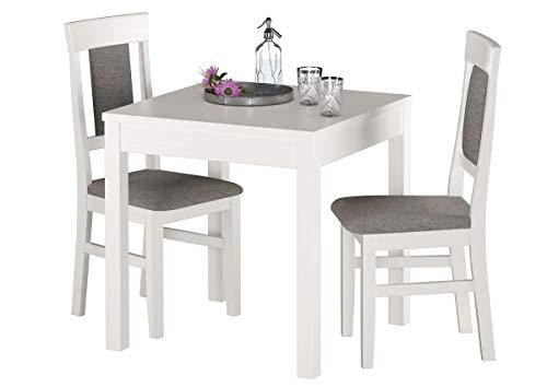 Erst-Holz® Gepolsterte kleine Essgruppe Tisch 2 Stühle Kiefer Massivholz weiß-grau 90.70-50 A W Set 25