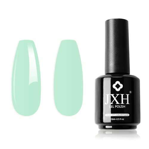 JXH Pastel Green Gel Nail Polish, 15ml Mint Green Macaron Soak Off Gel Nail Polish, Nail Gel Polish Colors, Professional UV LED Nail Art Manicure for Salon Designs and Home DIY Use 0.5 OZ