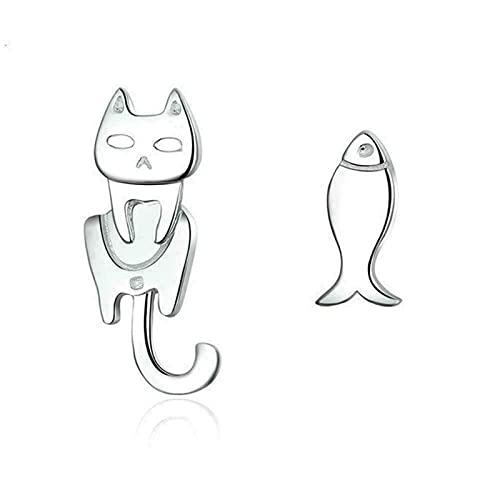 Pendientes Asimétricos para Mujer, Gato, Pez, Animal, Joyería, Creativo Gato Y Pez Furtivo, Pendientes de Plata de Ley 925 No Coincidentes, Joyería de Animal Para Mujer (A # 1)