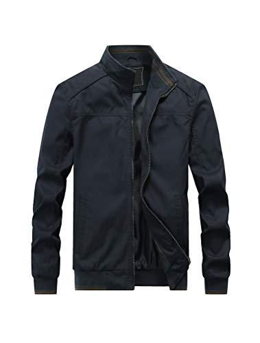 PASOK Men's Cotton Military Jackets Lightweight Outdoor Coat Stand Collar Windbreaker Field Jacket Dark Blue L