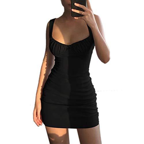 Olisenci Vestido sexy para mujer, de verano, ajustado, ajustado, para la fecha, plisado, Negro , S