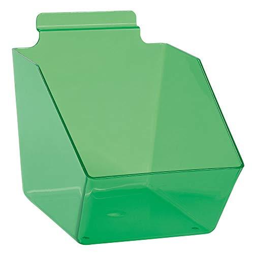 6 x 5 ½ x 7 ½ inch Clear Green Plastic Dump Bin - for Slatwall - Set of 2