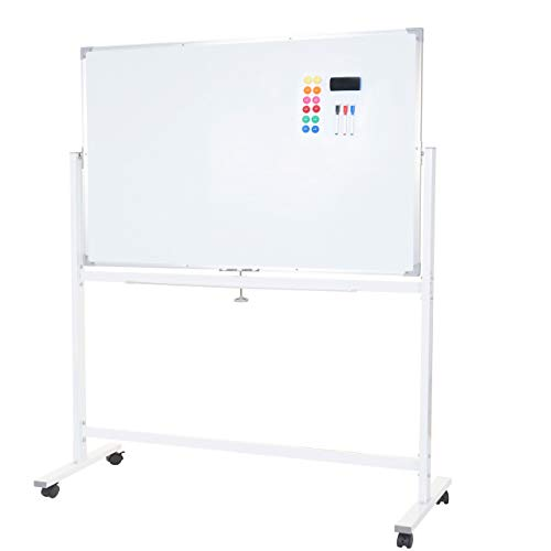 Whiteboard HWC-C85, Magnettafel Memoboard Pinnwand, mobil rollbar inkl. Zubehör - 120x90cm