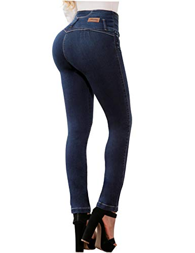 ARANZA Colombian Jeans Pantalones Colombianos Levanta Cola Butt Lifting Straight High Waist Blue