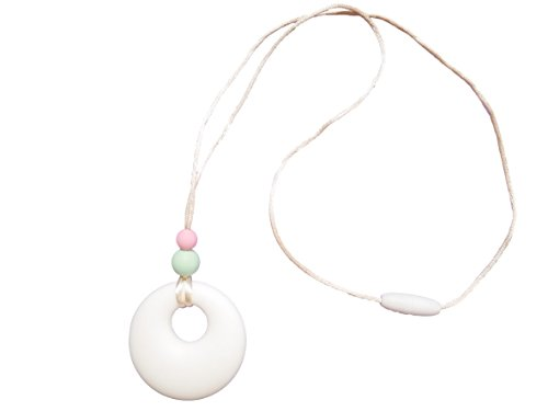 Silicone Teething Necklace Pendant Breastfeeding Baby Nursing Beads BPA Free, Hand-Made by MilkMama, 5 Colours (White)