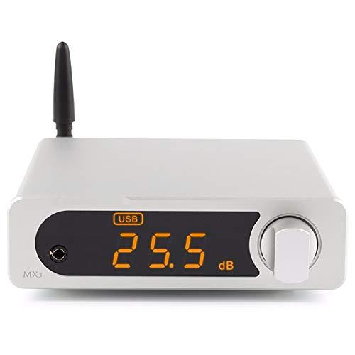 FAY Wireless Home Estéreo Hi-Fi Amplificadores, Equipo De Música Bluetooth DAC Amp con Salida De Auriculares Amplificador De Los Altavoces Caseros Pasivos Subwoofer,Plata