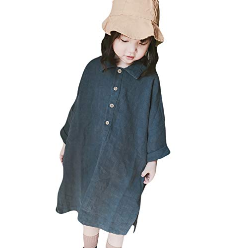 Gyratedream Lente Herfst Casual Mode Baby Meisje Effen Kleur Lange Mouw Jurk Kinderkleding 3-8 Jaar Kinderen