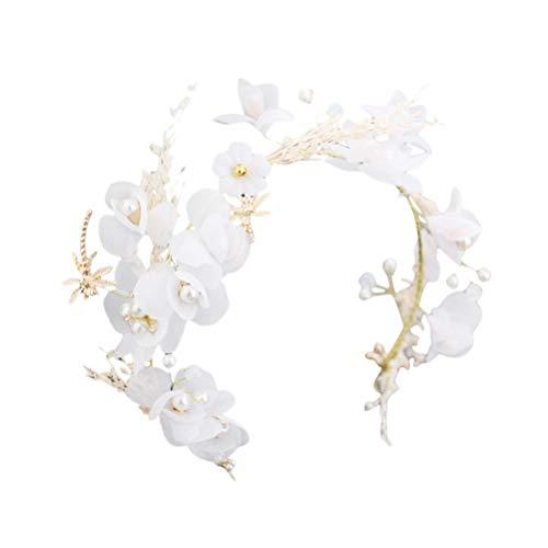 Tiara de la boda flores secas Gypsophila tocado señoras diadema guirnalda decoración del pelo accesorios para fotografía (blanco)