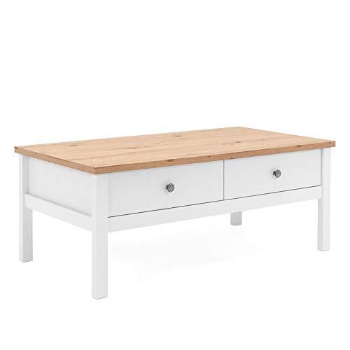 Newfurn Couchtisch Weiß Wildeiche Wohnzimmertisch Vintage Landhaus - 100x40x55 cm (BxHxT) - Landhausstil Sofatisch Tisch - [Eireen.Seven] Wohnzimmer