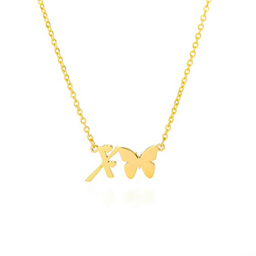 Collar Inicial con Mariposa para Mujer, Acero Inoxidable, Oro, Letras AZ, Collar de Mariposa, Regalo de joyería para Amigos, 45cm