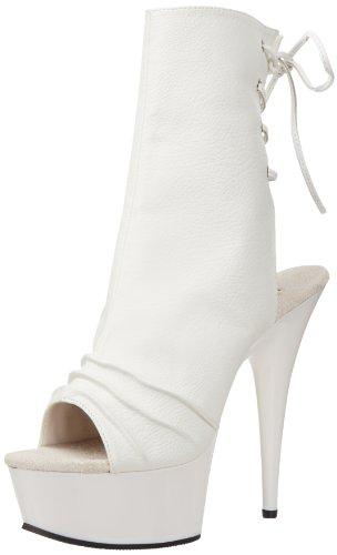 Pleaser - Delight 1018, Stivali Donna, Bianco (White (Wht Faux Leather/Wht)), EU 38