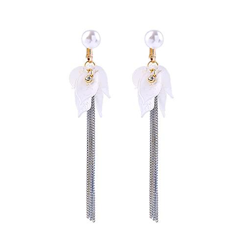 Pendientes de flor de diamantes de aleación Joyas europeas y americanas Clip de oreja de borla fina de cara larga para mujeres