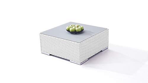 talfa Polyrattan Loungetisch in Weiß satiniert - Cube Tisch 75 cm