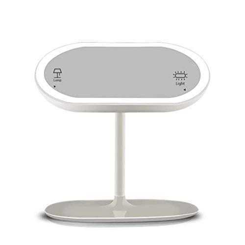 KMMK Espejos de vanidad montados en la pared, espejo de vanidad Maquillaje Lámpara Inesk Lámpara LED recargable USB Pantalla táctil extraíble ° Diseño dividido giratorio