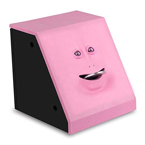 YUHUANG Piggy Bank, Box Kind sicher automatische Sparkasse Kauen Sparschwein Katze Sparkasse Geld Zuckerwattemaschine Persönlichkeit Gesicht Schweinchen - pink