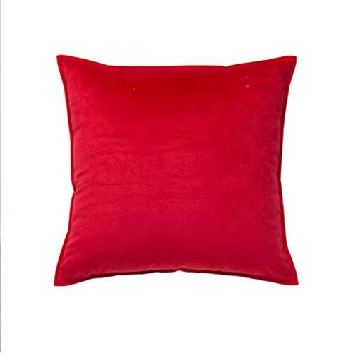 Almohada de color sólido para el hogar, sofá, almohada grande, accesorios para coche, almohada lumbar, simple, rojo, 45 x 45 cm