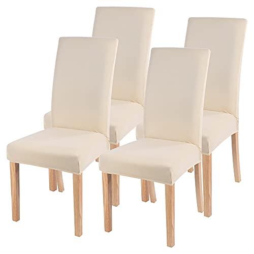 Ryoizen Stuhlhussen Stretch Universal 4er Set Esszimmerstühle Elastischer Stuhlbezug, Einfarbig Schwingstühle Abnehmbarer Moderne...