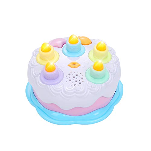 Okreview Baby Birthday Cake Toy with Counting Candles & Music for 1 2 3 4 5 Years Old Girls Toddler Gift Toys (Pink)