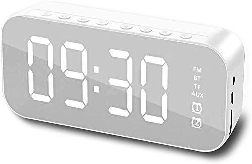HUIQ Altavoz Bluetooth Radio Reloj Despertador Pantalla LED USB Recargable Radio FM Altavoz Bluetooth de Sonido estéreo de Alta fidelidad