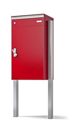 Stebler sbox 17 Briefkasten mit Paketschliessfach, einfacher Selbstmontage, aus Aluminium, 440x800x340 mm, Handgefertigt mit Seitlichem Stützenpaar zum Einbetonieren, Feuerrot