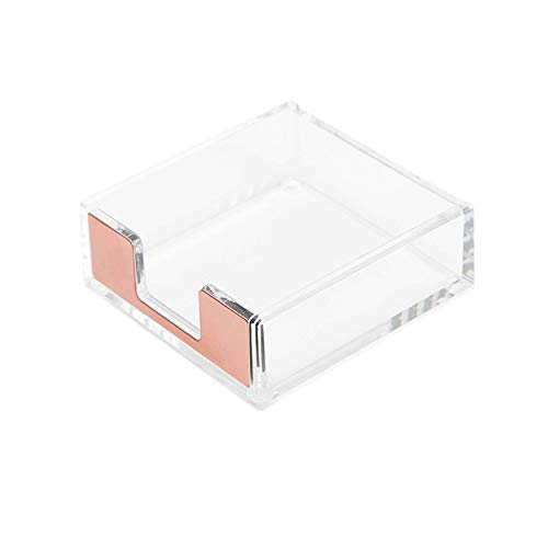 Klares Acryl Rose Gold Selbstklebende Memoblöcke Halter 5 mm super dick Notizen Karten Cube Spender Etui Tasche 8,9 x 8,4 cm für Büro Zuhause Schule elegantes Schreibtischzubehör