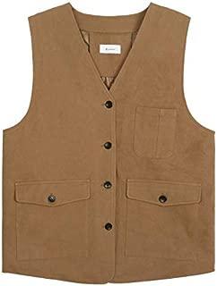 YXHM A Workwear Sleeveless Thin Coat Vest Female Autumn Vest Jacket Female (Color : Orange, Size : M)
