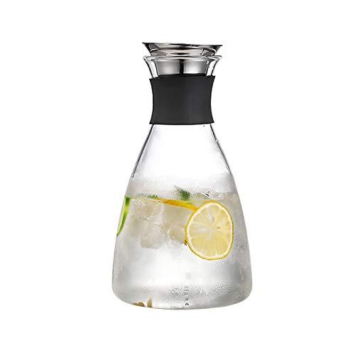 Jarra de Agua Cristal La tetera de vidrio de alta capacidad de lanza de vidrio simple, tetera de vidrio, tiene un pico a prueba de polvo que se abre y se cierra automáticamente Jarras de Vidrio