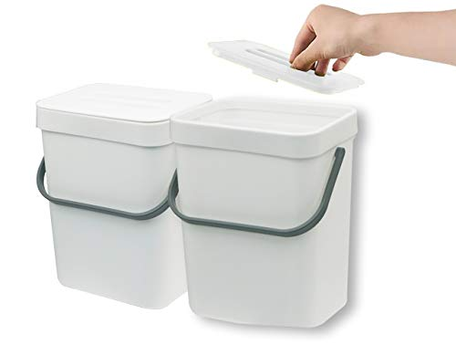 Best Prices! Gereen 1.3 Gallon Compost Bin, 2 Pack Compost Bucket Small Trash Can Wastebasket with Lid for Kitchen Countertop Under Sink (White)