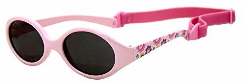 Kiddus Gafas de sol para bebe, niños y niñas. SUPER FLEXIBLES. A partir de 6 meses. UV400 100% protección rayos UVA y UVB. Seguras, confortables, muy resistentes. Rosa con flores