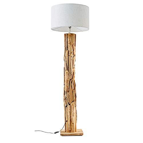 Massive Teakholz Stehlampe ROOTS natur Treibholz Lampe höhenverstellbar Stehleuchte Treibholzlampe