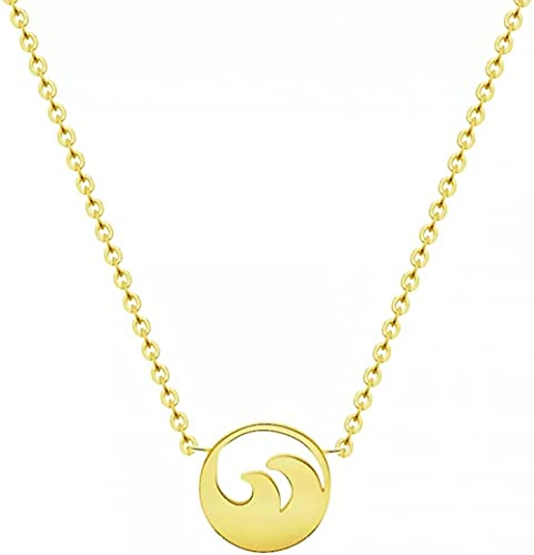 Aluyouqi Co.,ltd Collar Fashion Necklace Pendant Collar Stainless Steel Ocean Waves Pendant Beach Surfer Jewelry Summer Sea Wave Choker Necklaces For Women Girl Collar Woman Birthday Party