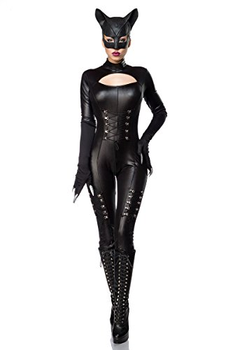 Sexy Catwoman Kostüm Cat Woman Superheld Held Heldin Schwarz Set Karneval S-3XL, Farbe:Schwarz;Größe:XXL-3XL