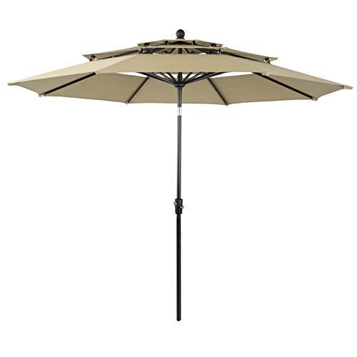 PHI VILLA 10ft Patio Umbrella Outdoor 3 Tier Vented Table