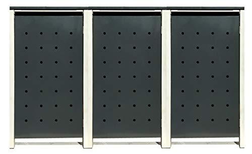 3 Tailor Mülltonnenboxen Basic Duo für 120 Liter Tonne/Stanzung 1 / Farbe RAL 7016 Anthrazit/Rahmen RAL 9006 hell Grau/Verschönern Sie Ihre unansehnliche Mülltonnen in Ihrem Hof und Garten!
